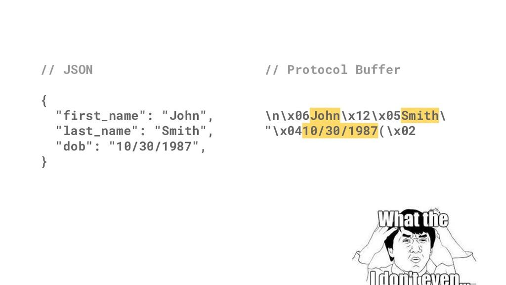 "// Protocol Buffer \n\x06John\x12\x05Smith\ ""\x..."