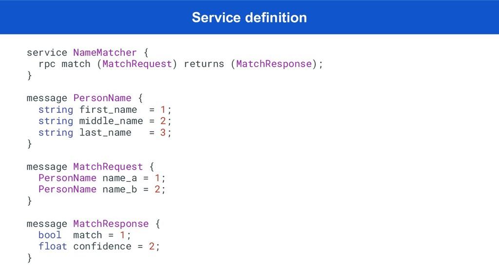 service NameMatcher { rpc match (MatchRequest) ...