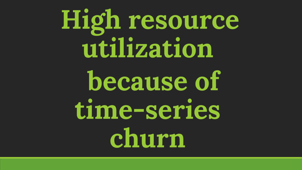 High resource utilization because of time-serie...