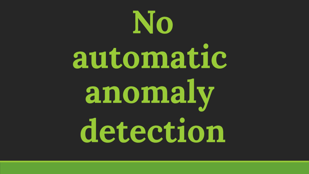 No automatic anomaly detection