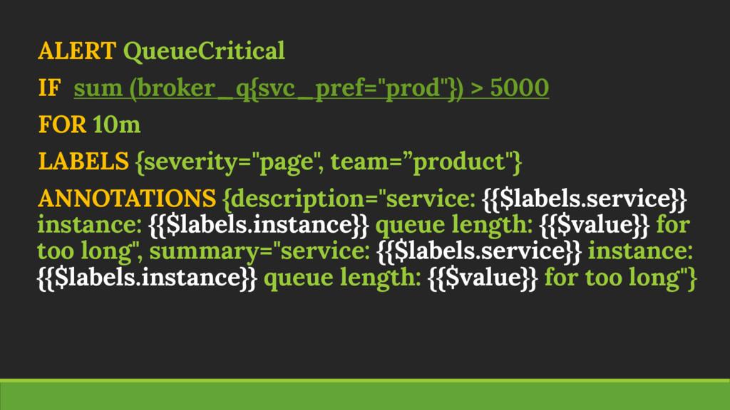 """ALERT QueueCritical IF sum (broker_q{svc_pref=""""..."""