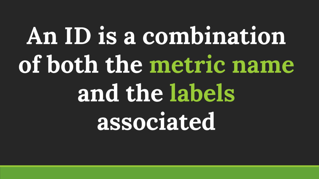 An ID is a combination of both the metric name ...