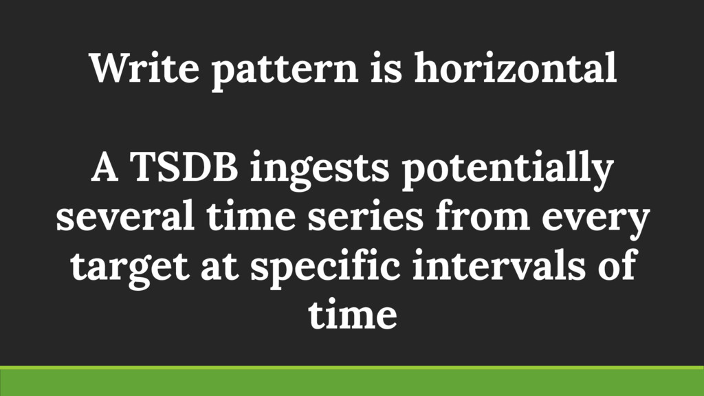 Write pattern is horizontal A TSDB ingests pote...
