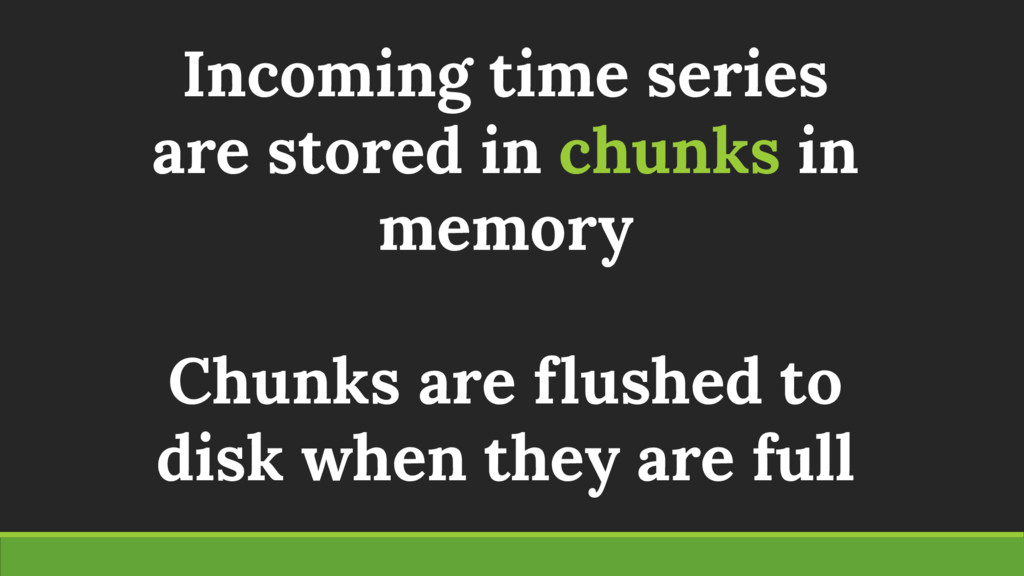 Incoming time series are stored in chunks in me...