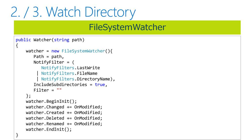 FileSystemWatcher public Watcher(string path) {...