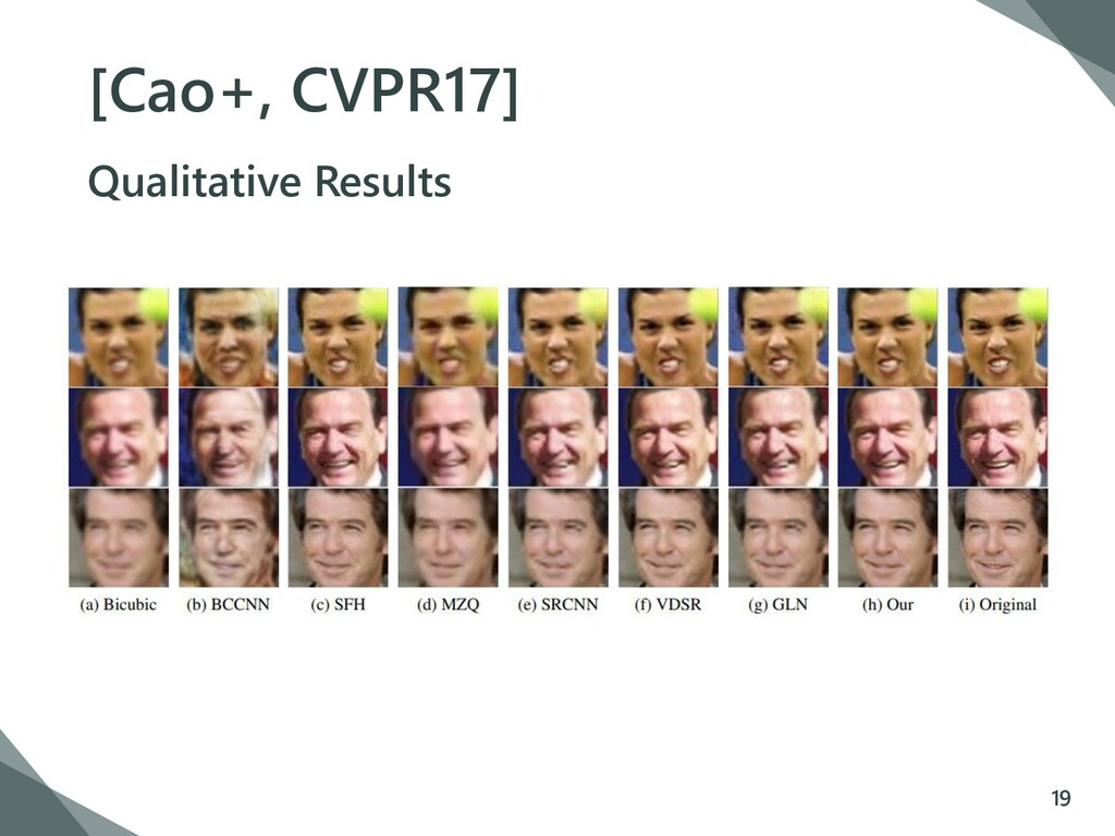 [Cao+, CVPR17] Qualitative Results 19