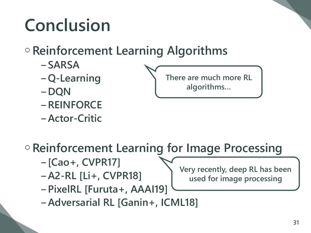 Conclusion Reinforcement Learning Algorithms −S...