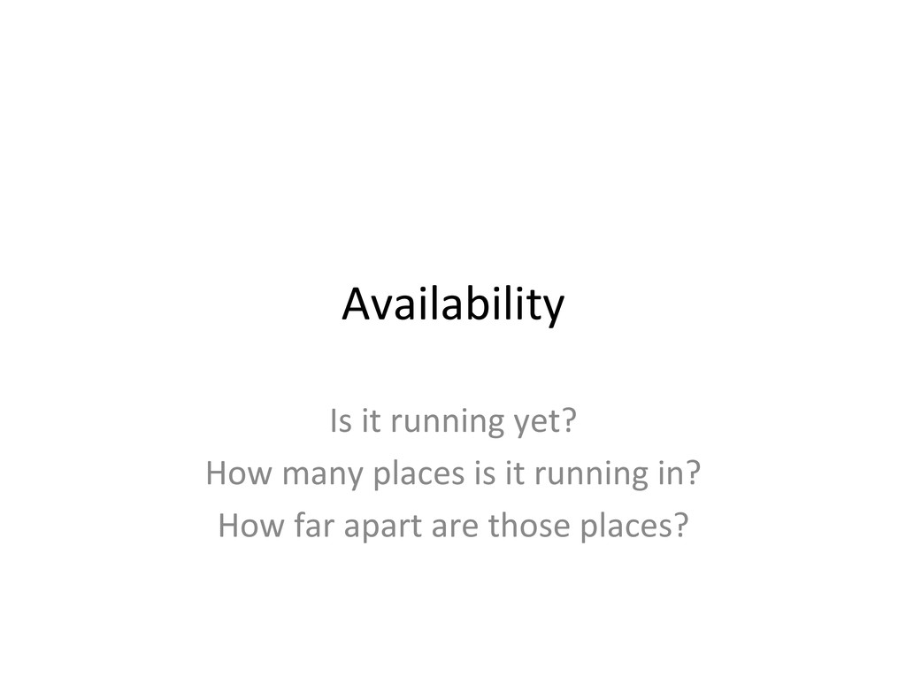 Availability  Is it running yet? ...