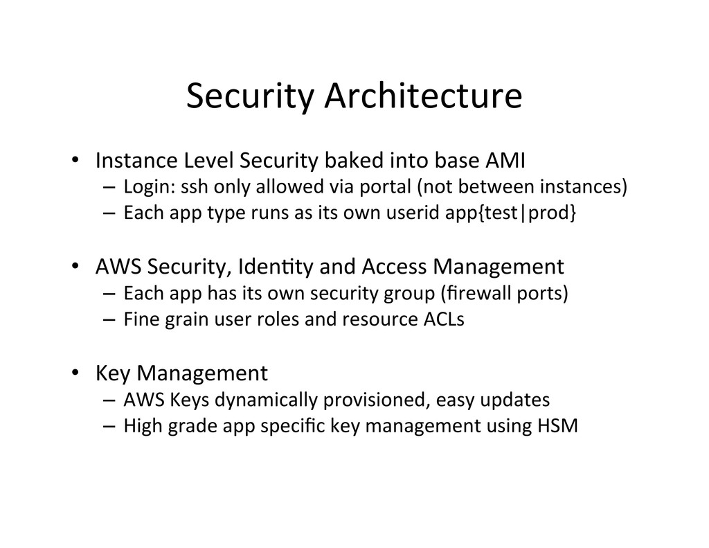 Security Architecture  • Instance Lev...