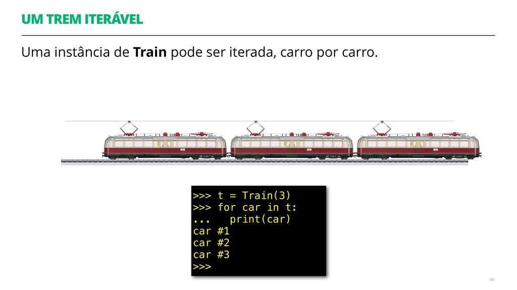 UM TREM ITERÁVEL Uma instância de Train pode se...