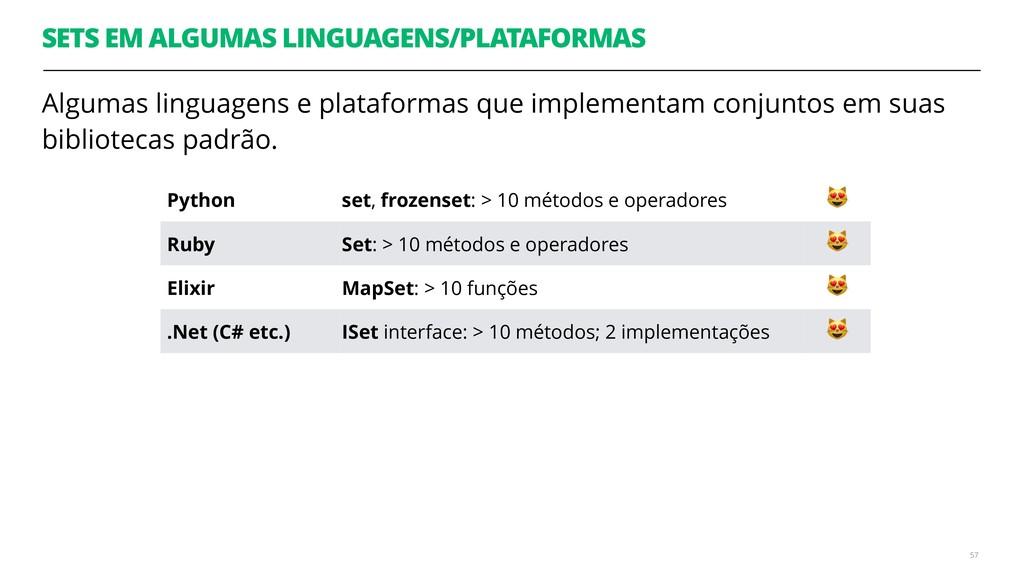 Algumas linguagens e plataformas que implementa...