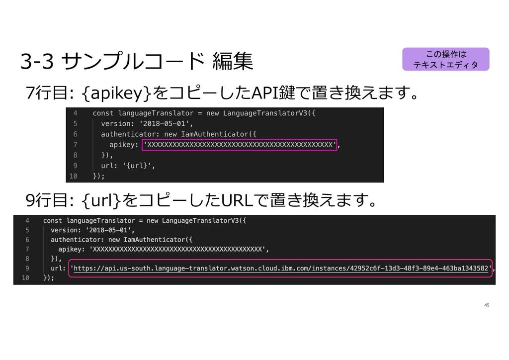 45 7⾏⽬: {apikey}をコピーしたAPI鍵で置き換えます。 3-3 サンプルコード ...