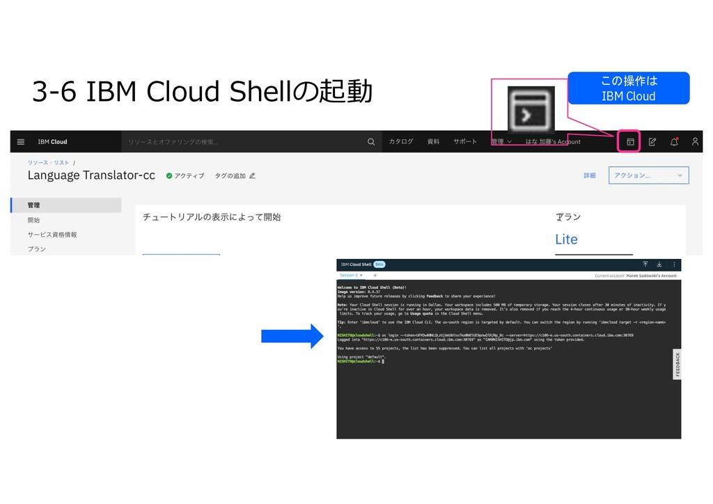 3-6 IBM Cloud Shellの起動 この操作は IBM Cloud