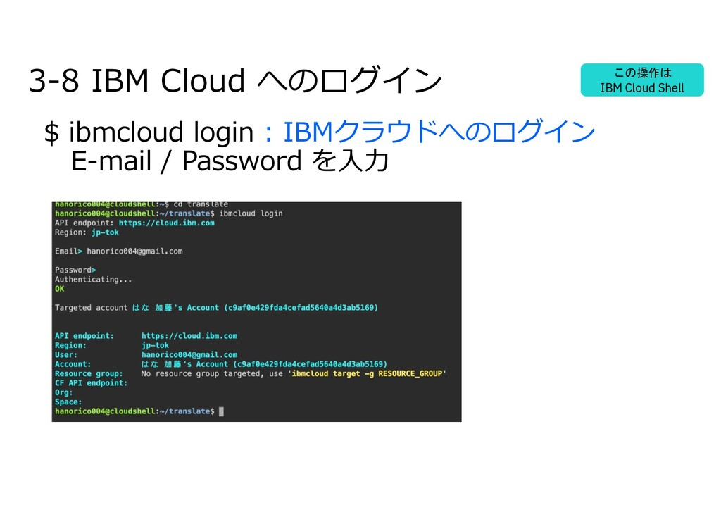 3-8 IBM Cloud へのログイン $ ibmcloud login : IBMクラウド...