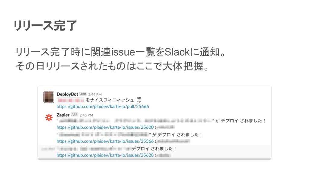 リリース完了 リリース完了時に関連issue一覧をSlackに通知。 その日リリースされたもの...