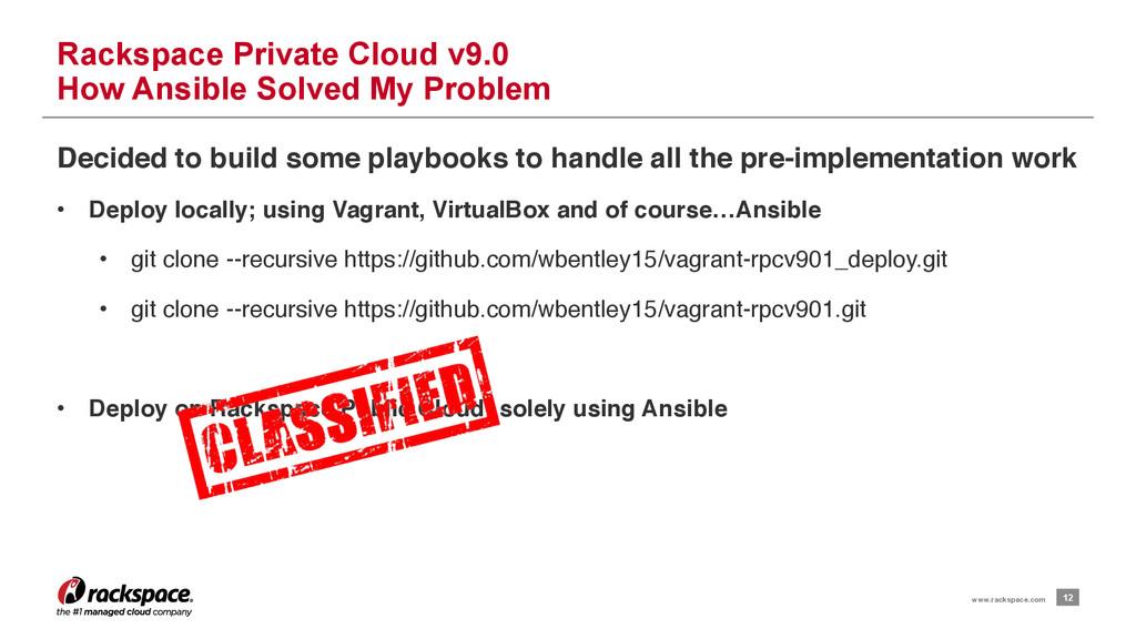 12 www.rackspace.com Rackspace Private Cloud v9...