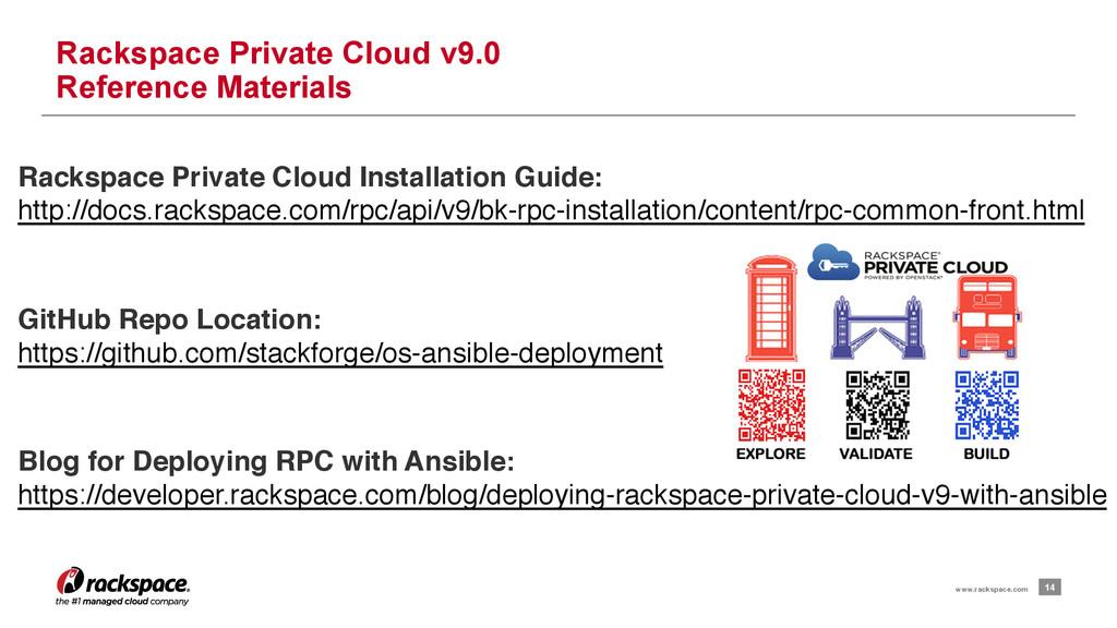 14 www.rackspace.com Rackspace Private Cloud v9...