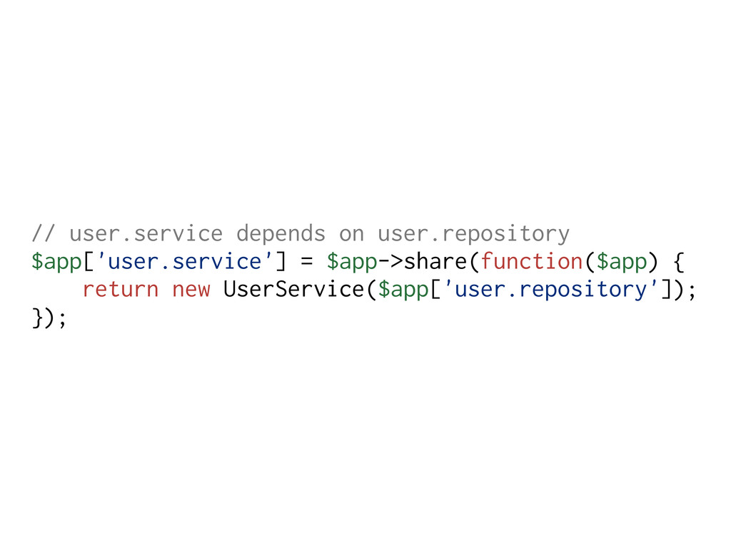 // user.service depends on user.repository $app...