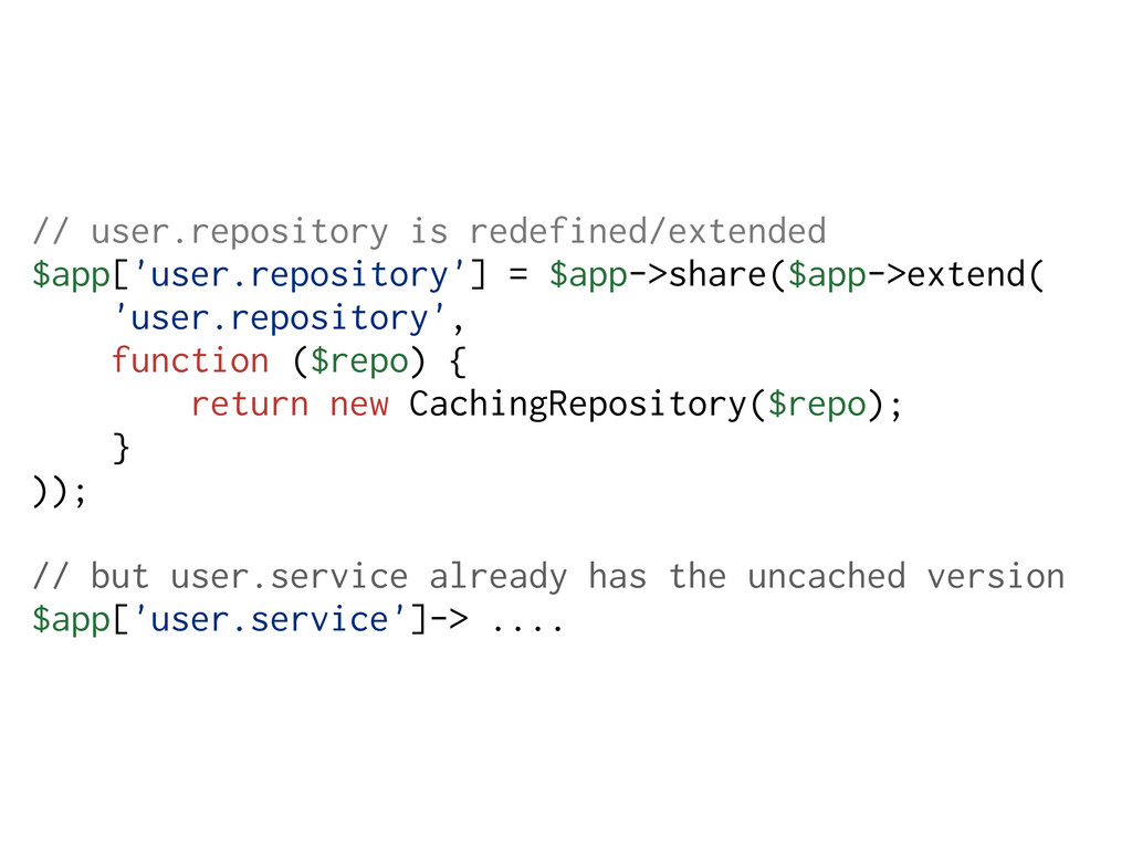 // user.repository is redefined/extended $app['...