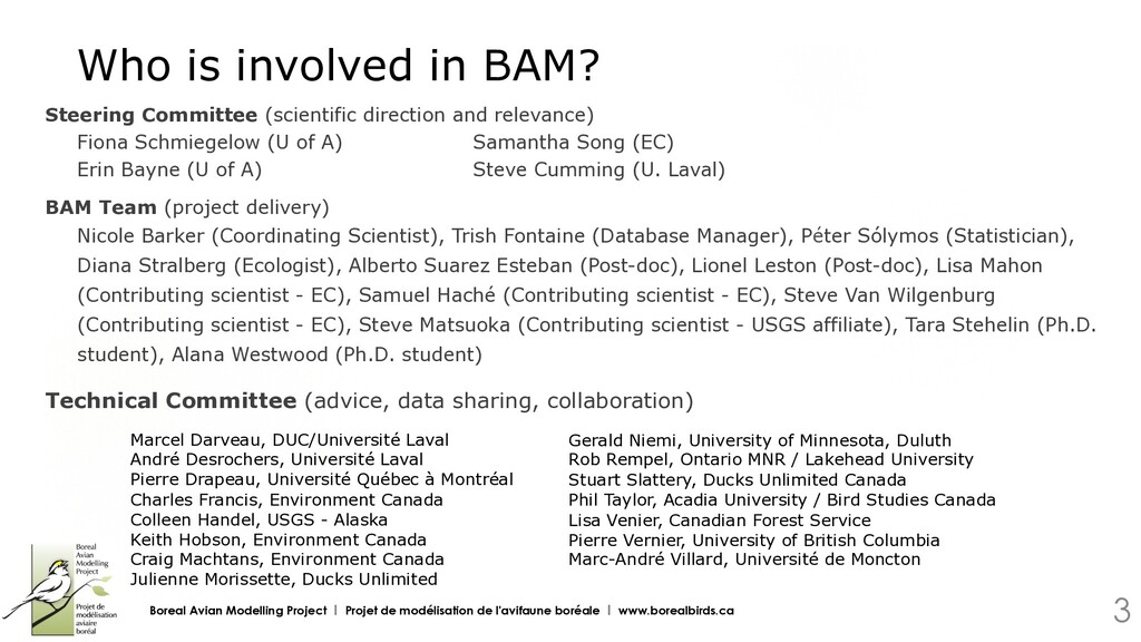Who is involved in BAM? Boreal Avian Modelling ...