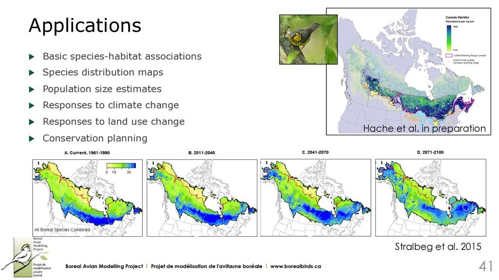 u Basic species-habitat associations u Specie...