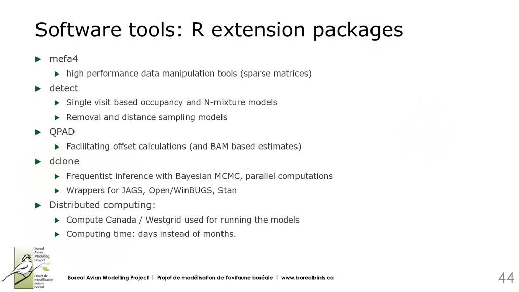 Software tools: R extension packages u mefa4 u...