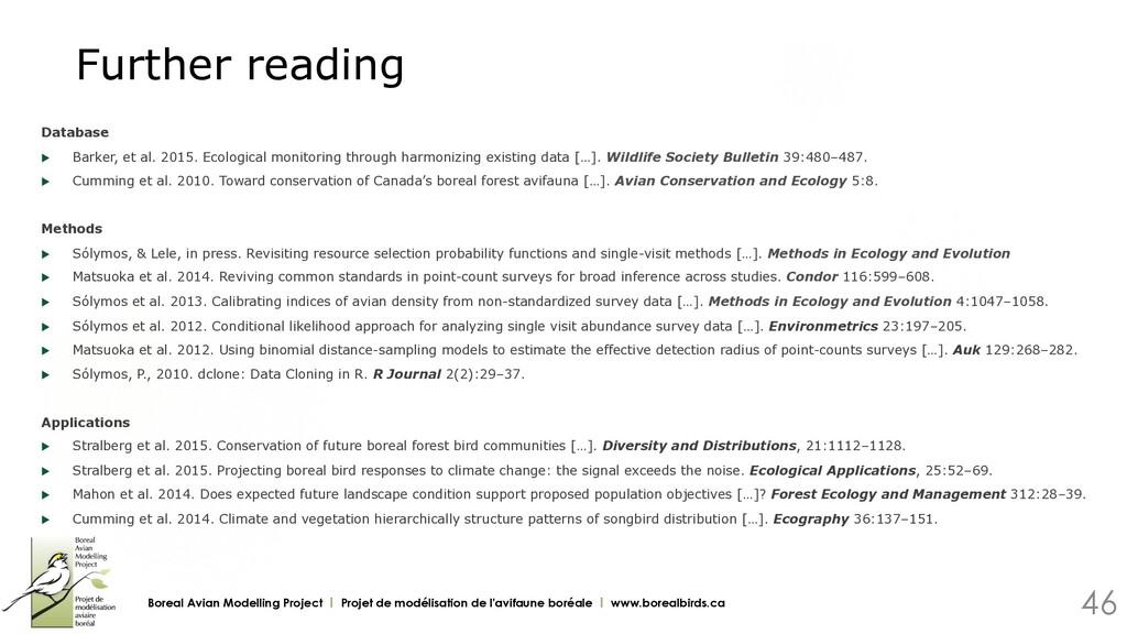 Further reading Database u Barker, et al. 2015...