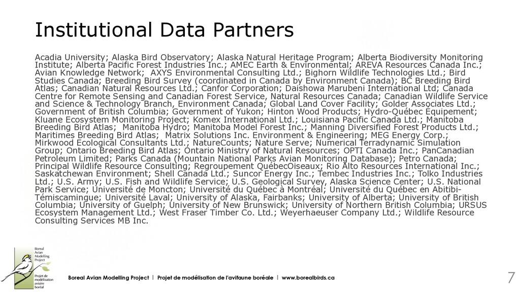 Institutional Data Partners Acadia University; ...