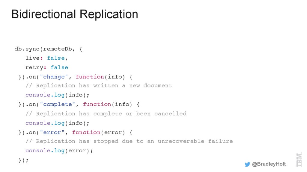 Bidirectional Replication db.sync(remoteDb, { l...