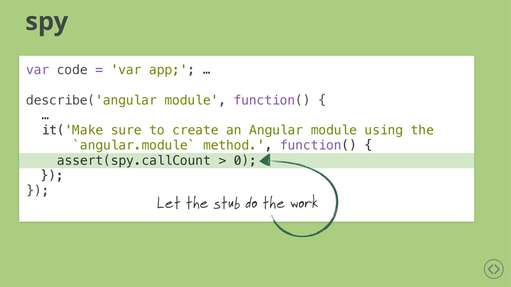 it('Make sure to create an Angular module using...