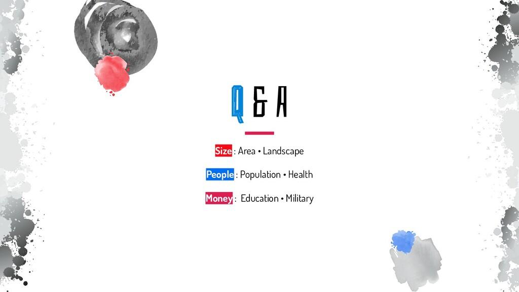Q & A Size : Area • Landscape People : Populati...