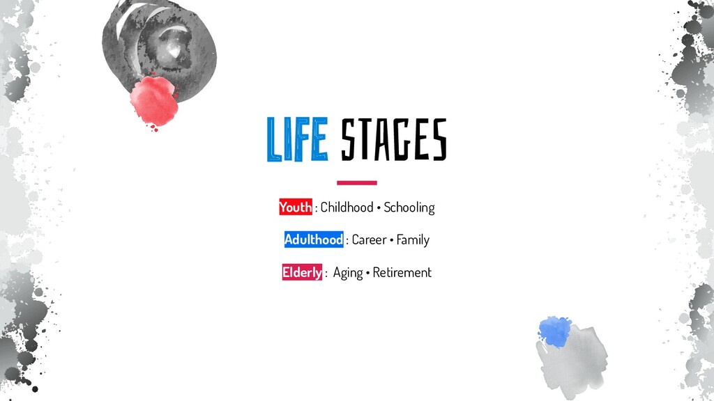 liFE sTagES Youth : Childhood • Schooling Adult...