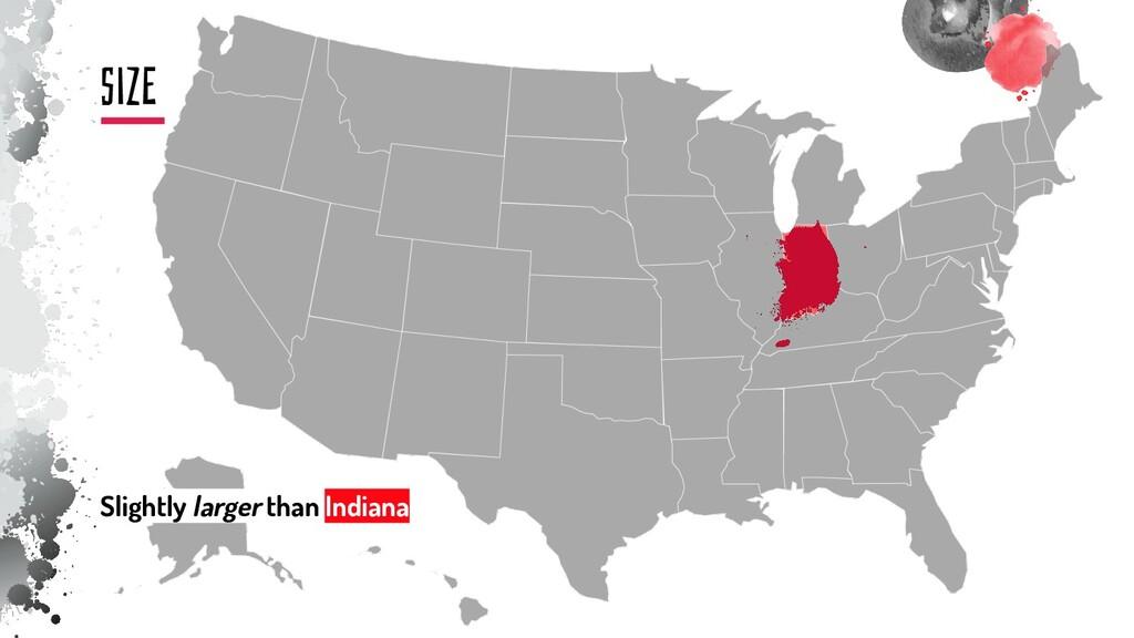 siZE Slightly larger than Indiana