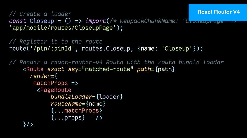 // Create a loader const Closeup = () => import...