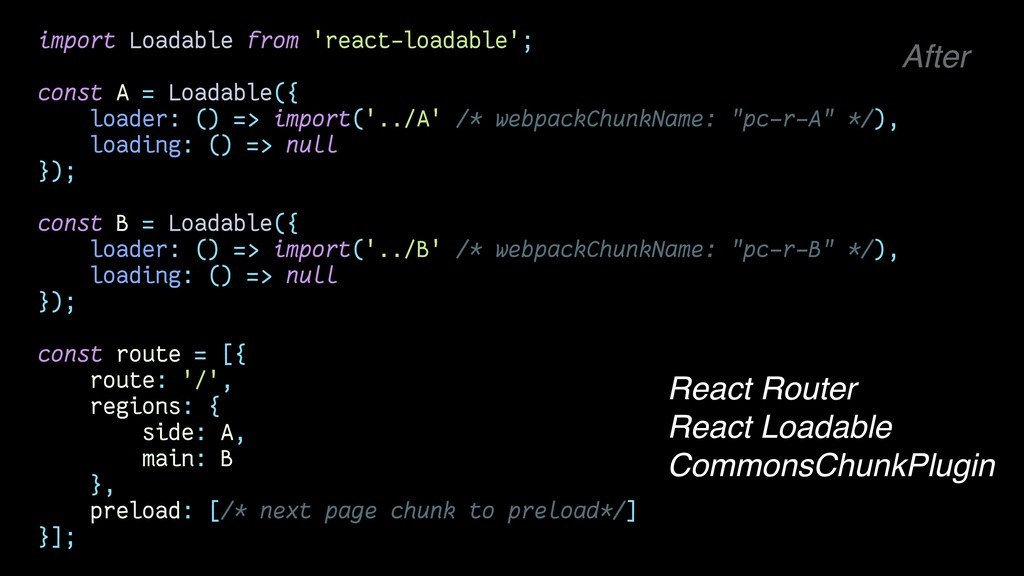 import Loadable from 'react-loadable'; const A ...