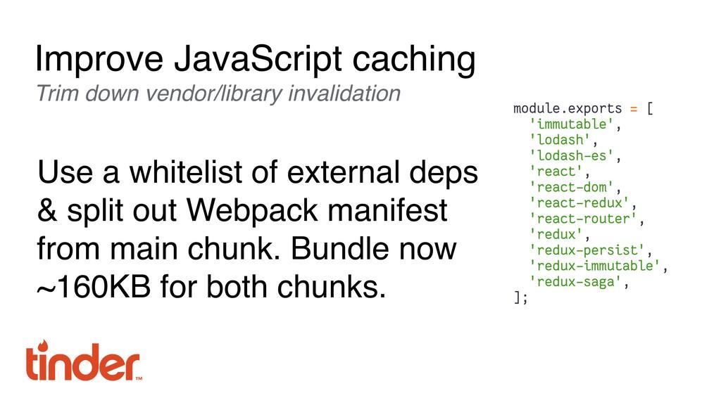 Improve JavaScript caching Trim down vendor/lib...