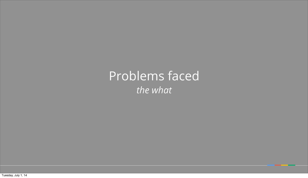 Problems faced the what Tuesday, July 1, 14