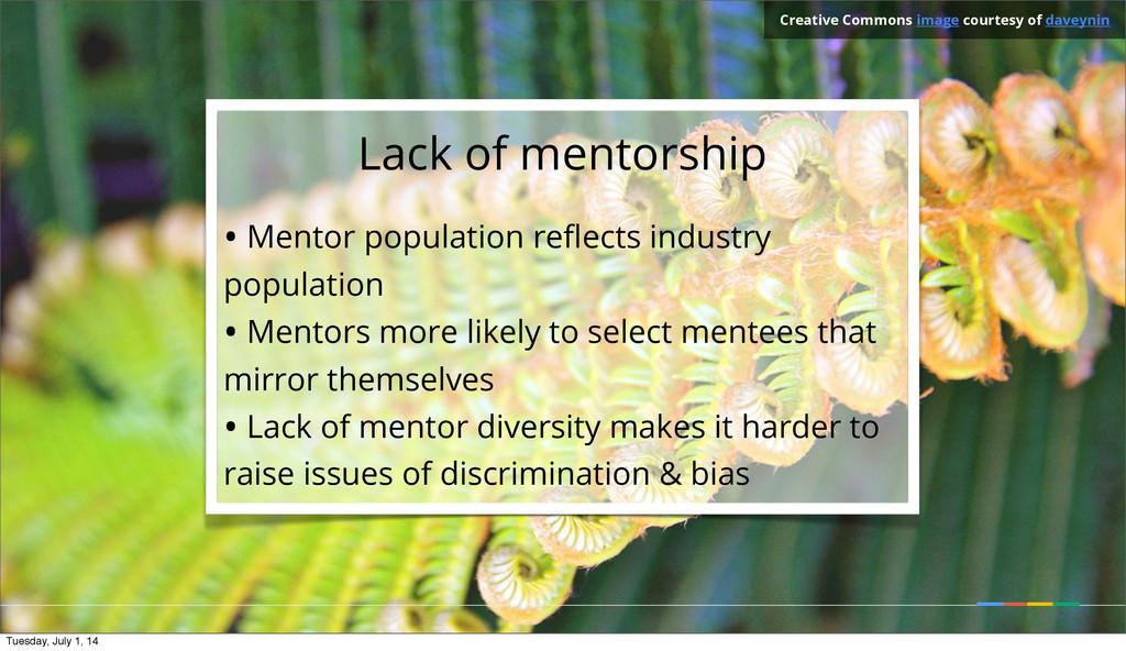 Lack of mentorship • Mentor population reflects ...