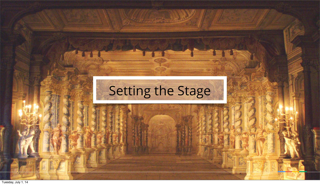 Setting the Stage Tuesday, July 1, 14