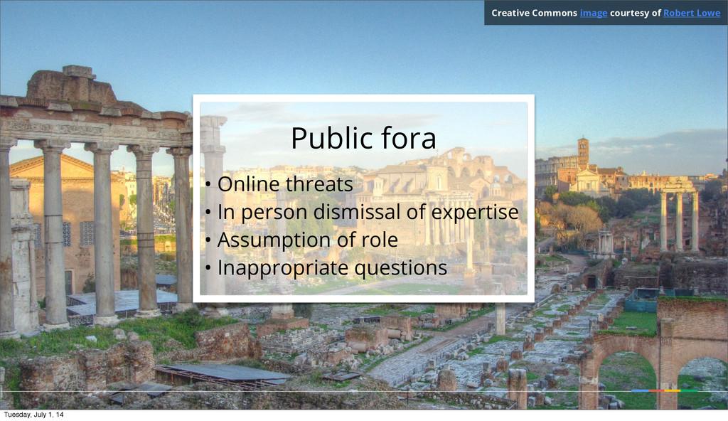 Public fora • Online threats • In person dismis...