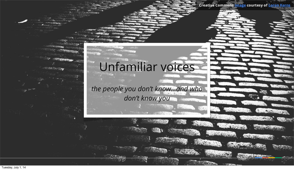 Unfamiliar voices the people you don't know...a...