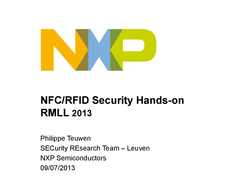 NFC/RFID Security Hands-on RMLL 2013 Philippe T...
