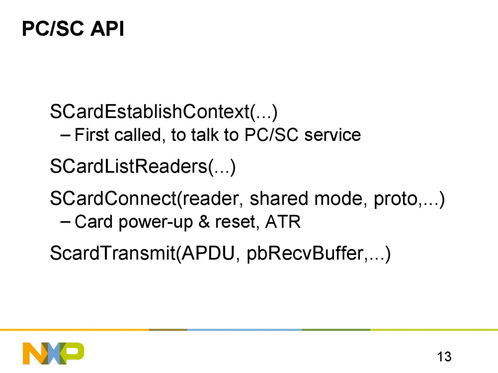 13 PC/SC API SCardEstablishContext(...) – First...