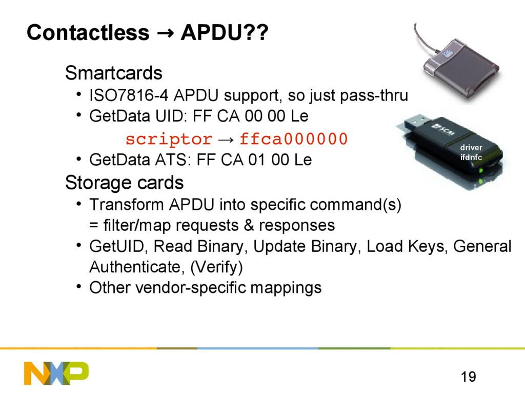 19 Contactless → APDU?? Smartcards • ISO7816-4 ...