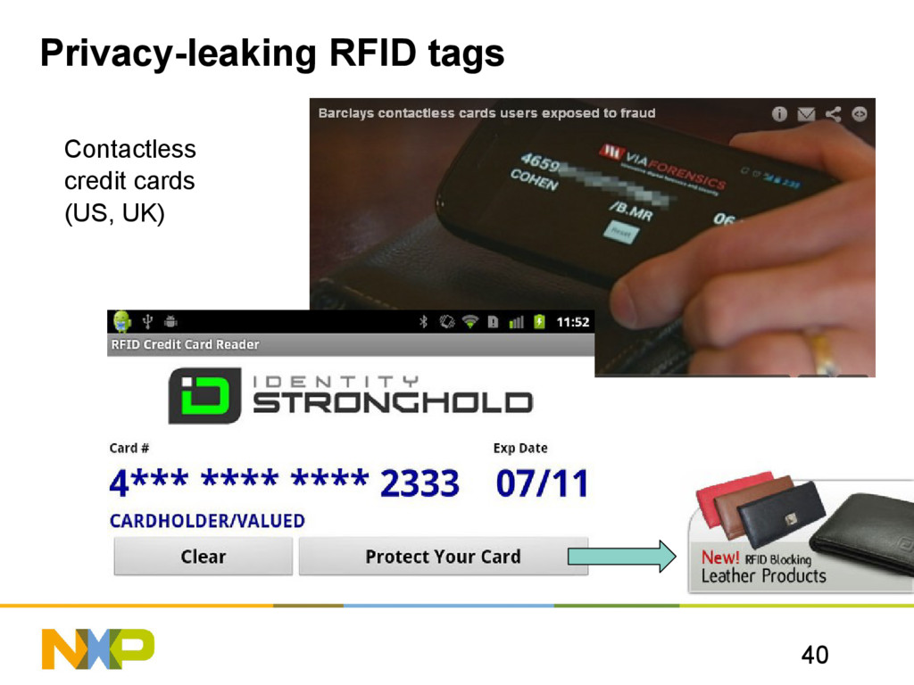 40 Privacy-leaking RFID tags Contactless credit...