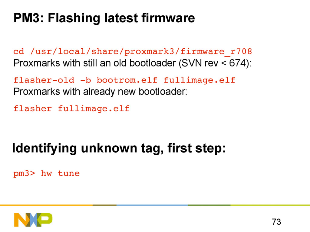 73 PM3: Flashing latest firmware cd /usr/local/...