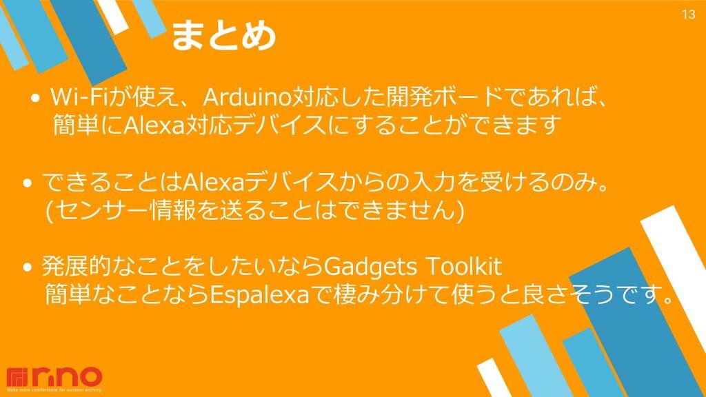 まとめ 13 • Wi-Fiが使え、Arduino対応した開発ボードであれば、 簡単にAlex...