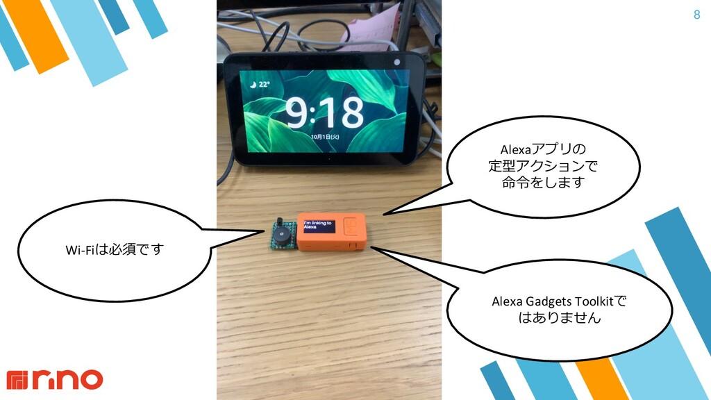 8 Wi-Fiは必須です Alexaアプリの 定型アクションで 命令をします Alexa Ga...