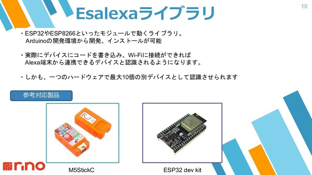 10 Esalexaライブラリ ・ESP32やESP8266といったモジュールで動くライブラリ...