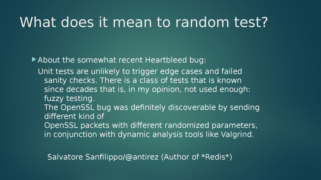 What does it mean to random test? About the so...